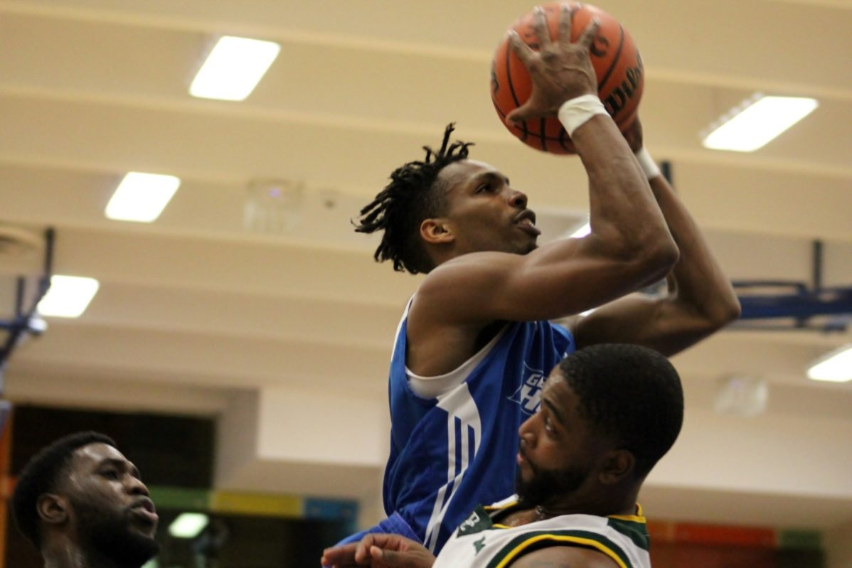 Chris Fields plays against Durham College in the GBC Basketball Tournament on the Jan. 6. PHOTO COURTESY OF GBC ATHLETICS.