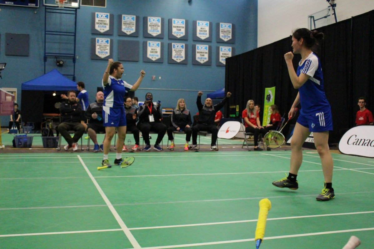 GBC's Yunji Kim and Angeline Alviar win the bronze medal in the women's doubles at the 2018 national badminton championships. Photo courtesy of the CCAA.