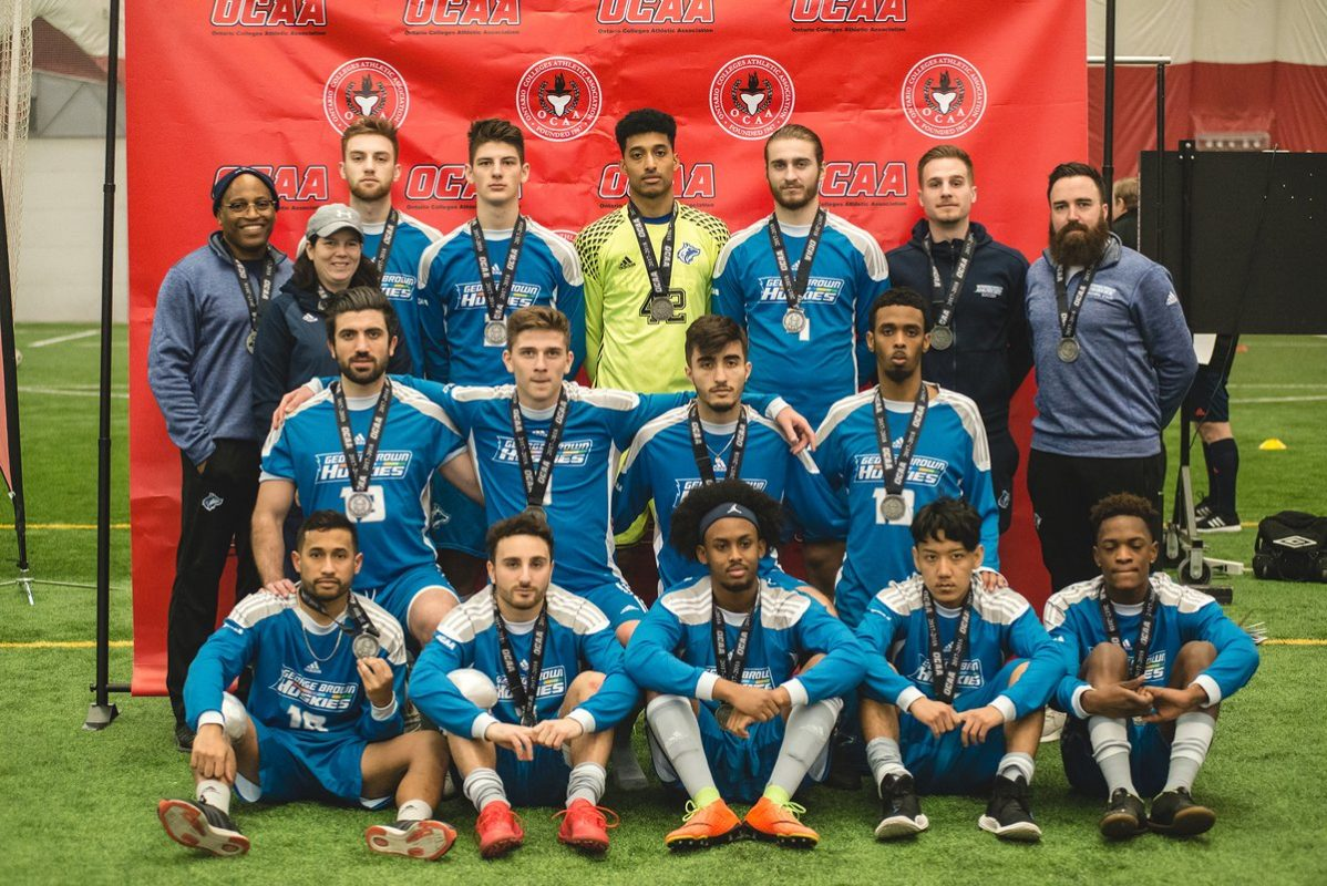 The George Brown College Men's indoor soccer team won a silver medal in the OCAA finals. Photo courtesy of George Brown College.