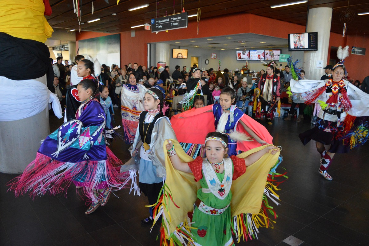 Women and girls shawl dance at the 10th Annual Four Sacred Colours Powwow. Photo: Mick Sweetman / The Dialog