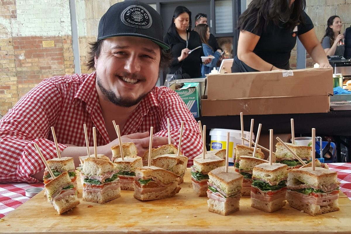 Kitson Vincent of Kitson and Co. Sandwiches shows off his love of sandwiches at the Toronto Sandwich Festival.