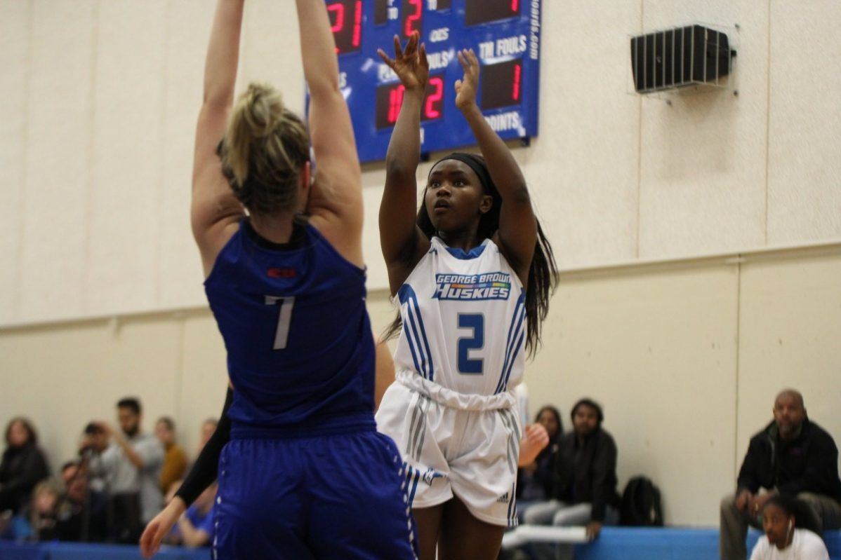 Tianna Sullivan scored 22 points for the Huskies in the women's basketball game against Georgian, which they won 74-46 on Tuesday. Photo: George Brown Athletics and Recreation.