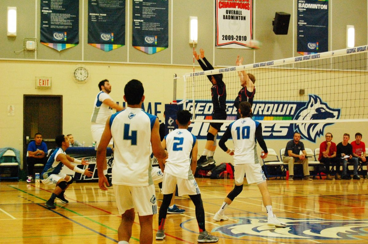 GBC men's team facing off against the Loyalist Lancers in the St. James campus gym. Photo: Allison Preston / The Dialog
