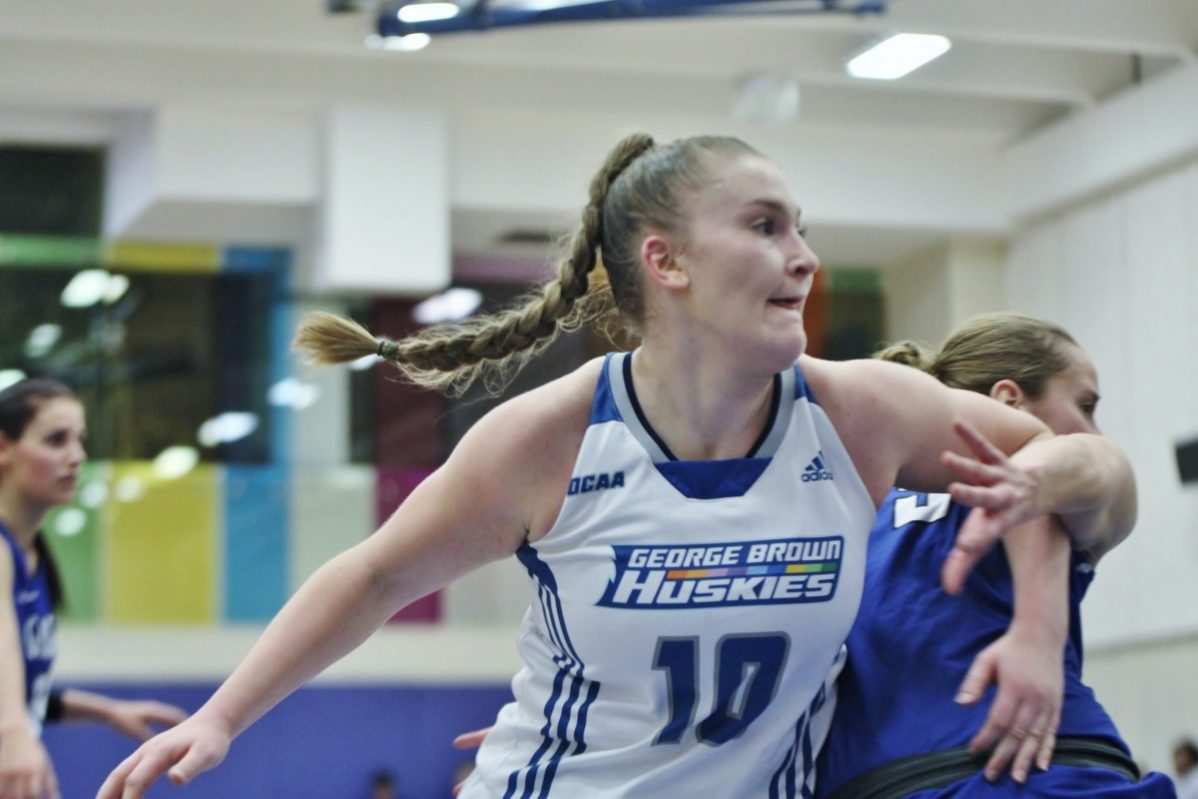 Coco Sauve scores an average of 10 points per game in her first season playing as a Husky (2018-2019) Photo: Philip Iver/ George Brown Athletics & Recreation