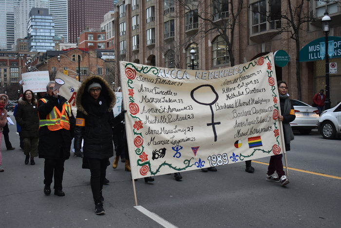 GBC students gather to march for women's rights in downtown, Toronto / Photo Nico deVeber, The Dialog
