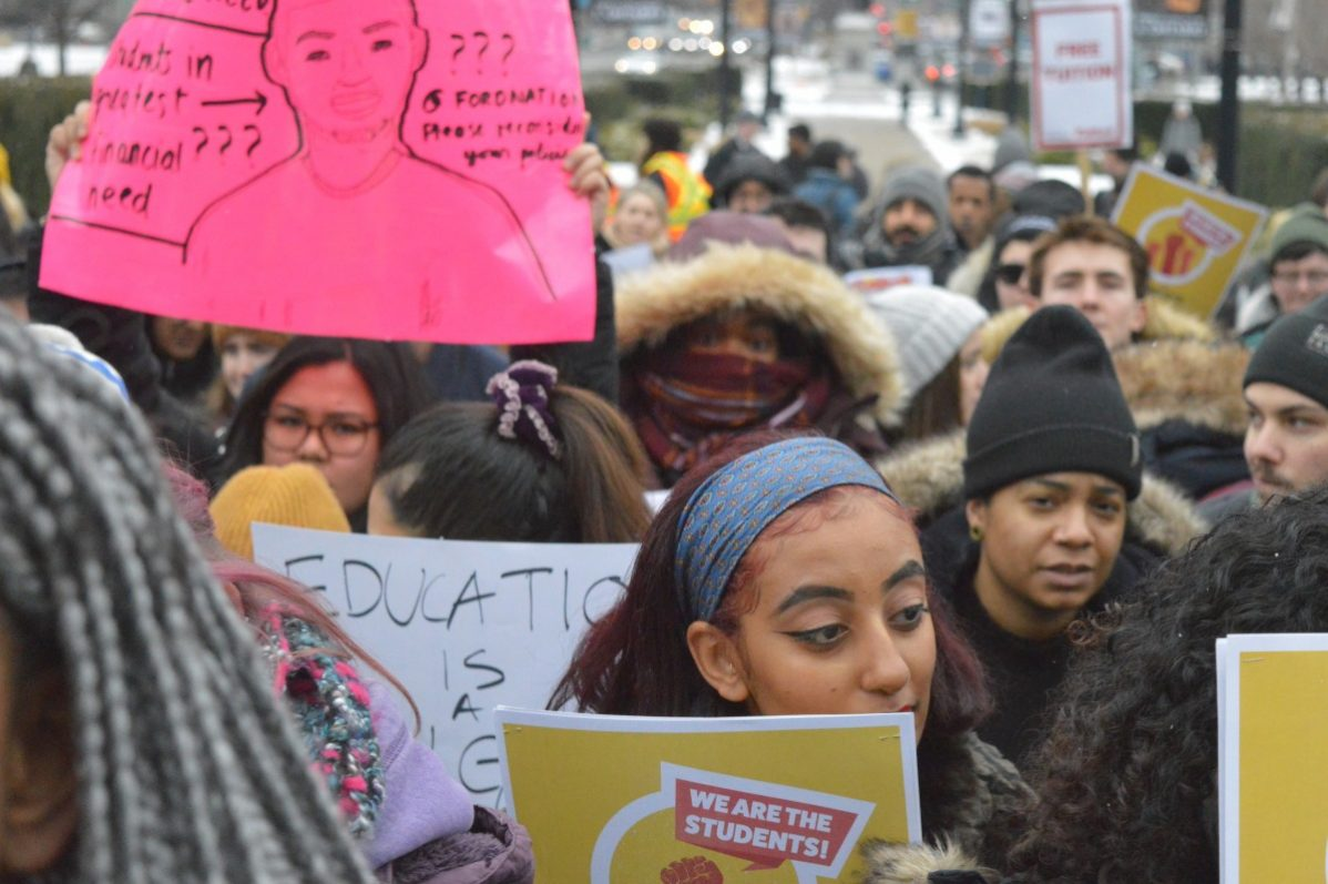 Students protest cuts to OSAP at Queens Park on Friday, Jan. 18. Photo: Allison Preston/ The Dialog