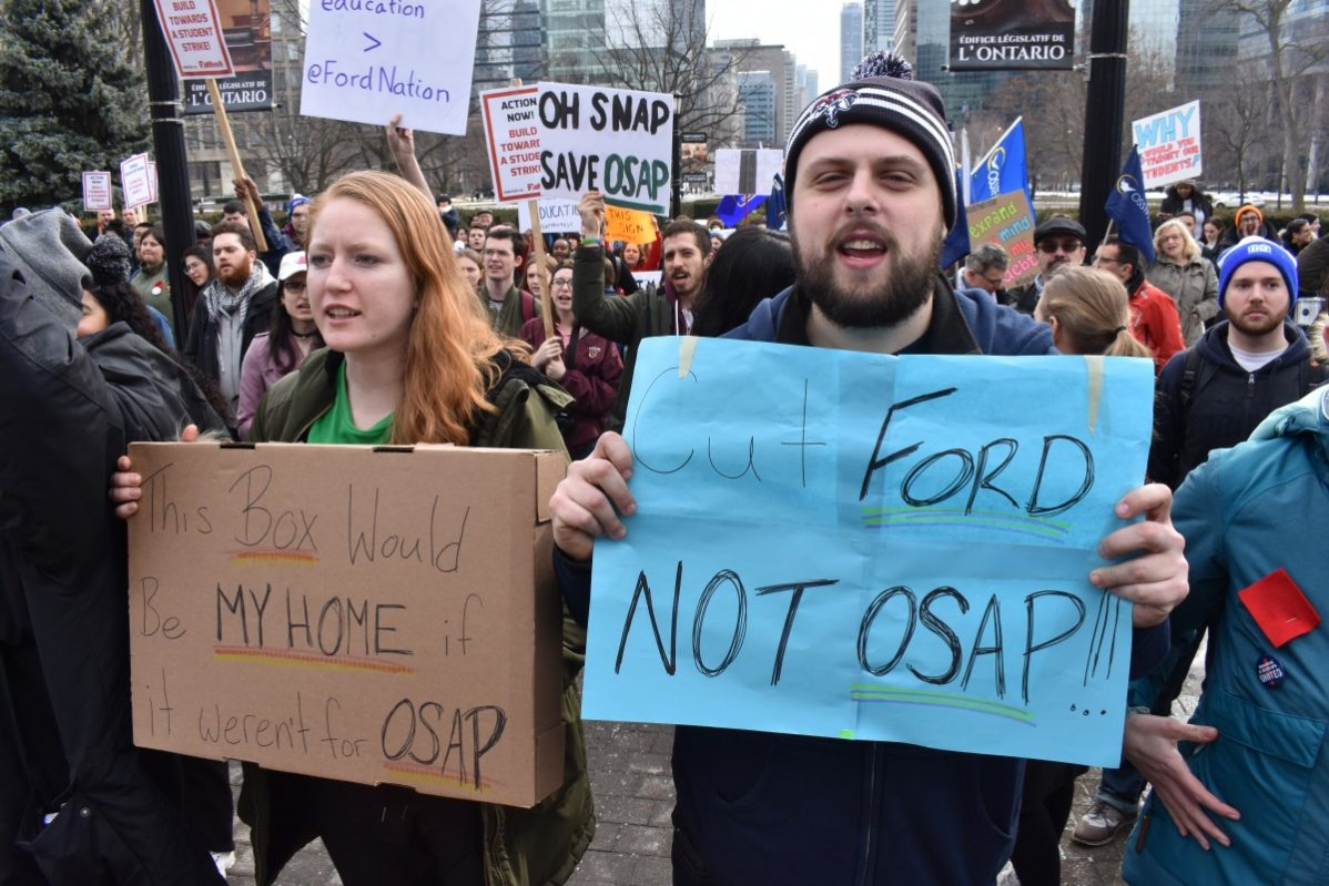 Students voice their opinion on cuts to OSAP. Photo: Kevin Goodger / The Dialog