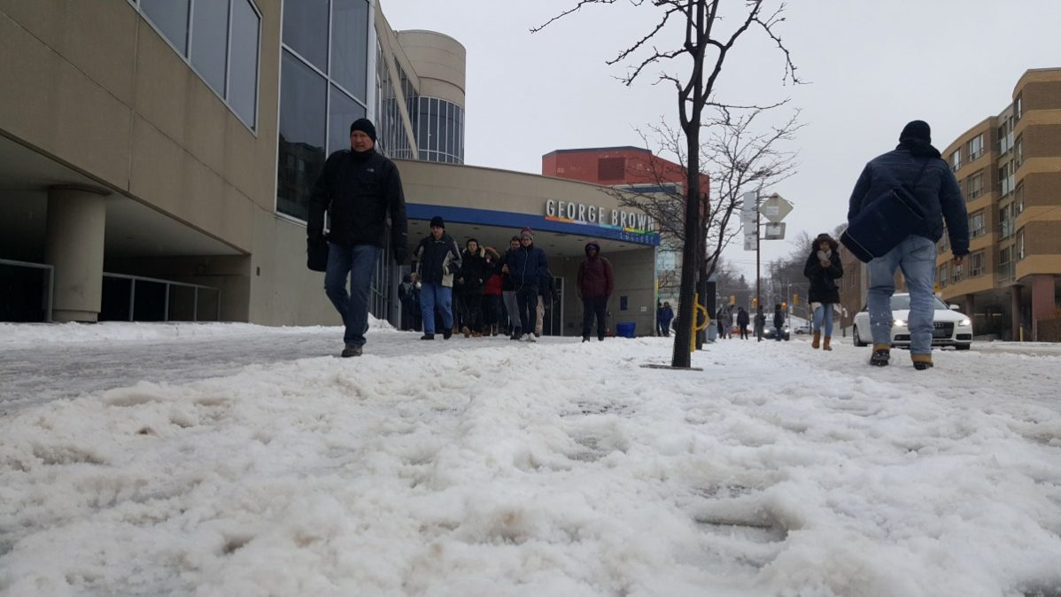 George Brown College is closing at noon today due to the ice storm. Photo: Mick Sweetman / The Dialog