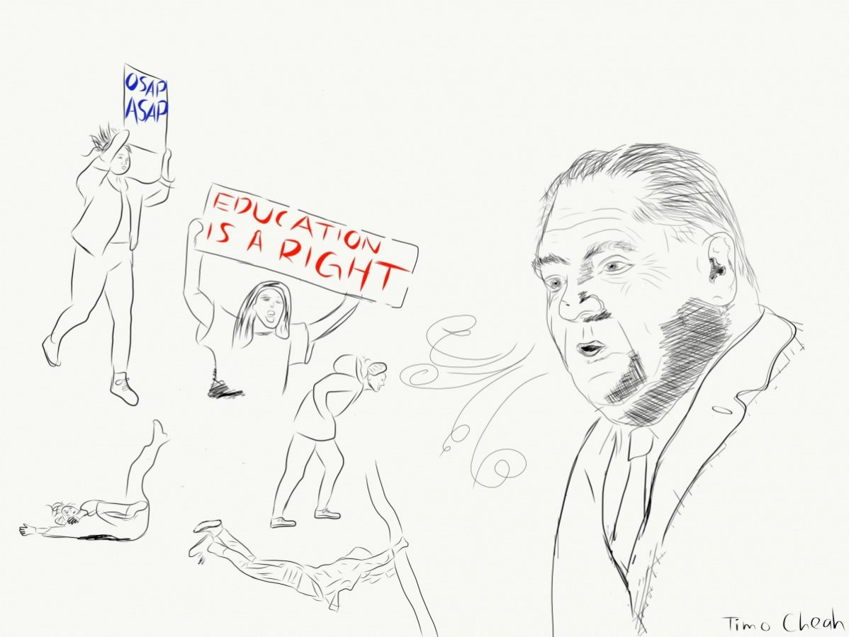 Drawing of Doug Ford blowing down student protestors. Ford blowing down students. Illustration by Timo Cheah