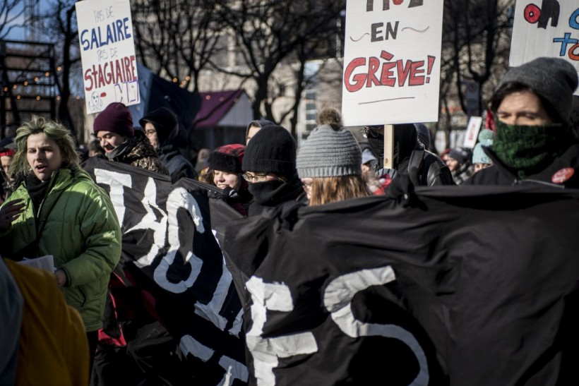 Students marched in Montreal on Friday as the strike against unpaid internships continues. Photo: Sarah Boumedda / The Link