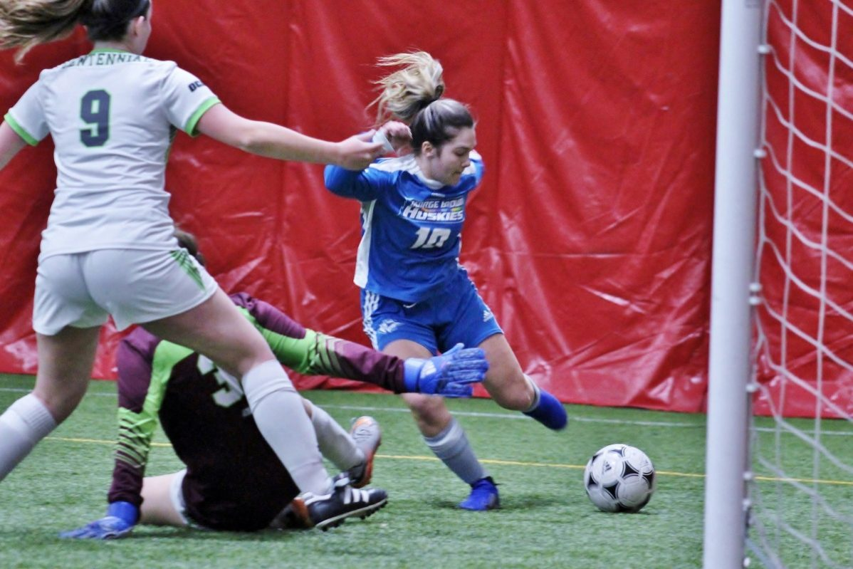both men's and women's indoor soccer landed a place in the OCAA championship. Photo: Philip Iver/ George Brown Athletics & Recreation