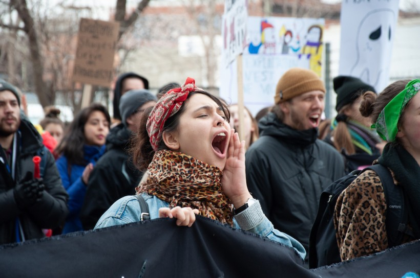A student chants at a protest in Quebec's student strike against unpaid internships. Photo: Caroline Marsh / The Link.